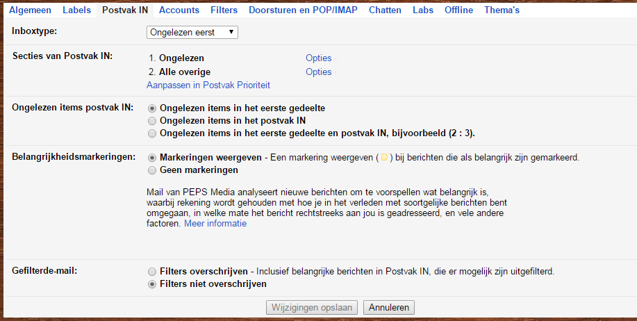 Gmail Postvak-in Configuratie